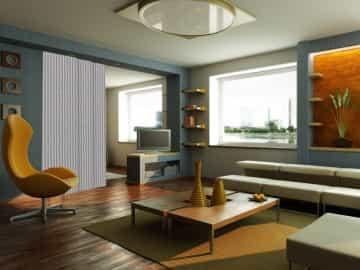 Panel japonés decorativo POSEIDON franjas verticales azul blanco