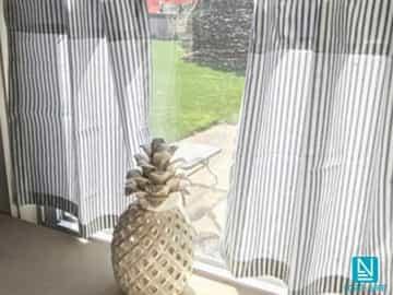Cortina decorativa POSEIDON franjas verticales blancas y grises