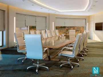 Estor paqueto visillo OSIRIS blanco natural sala de reuniones