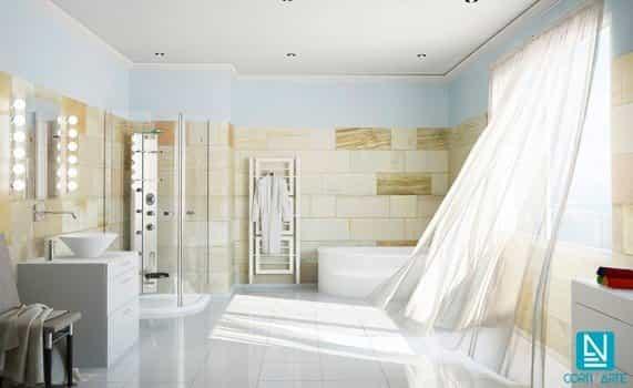 Baño moderno con cortinas visillo blancas