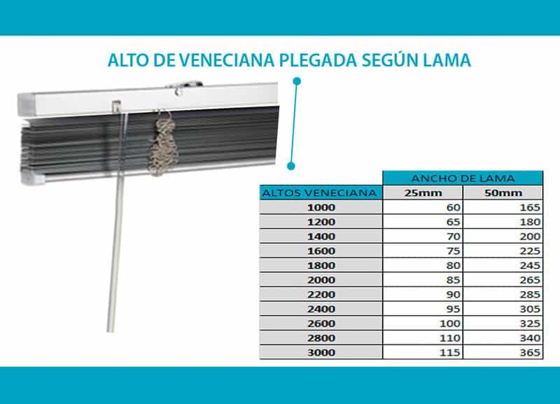 Recogida veneciana de aluminio plegada