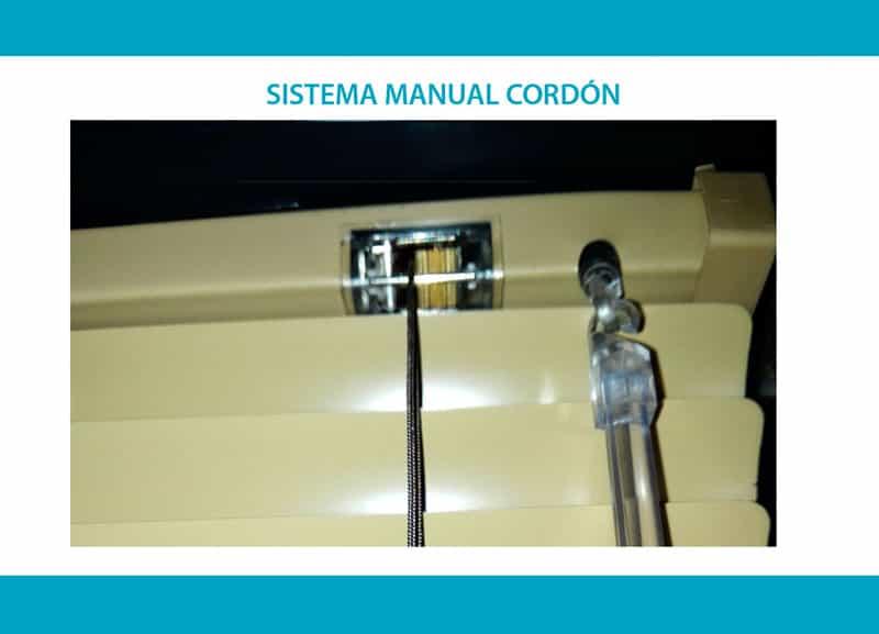 Sistema manual cordón Venecianas de aluminio